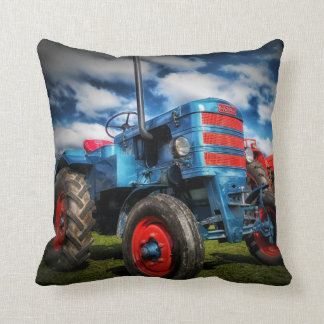 Cool Blue Red Antique Tractor Gifts for Farmers Throw Pillow