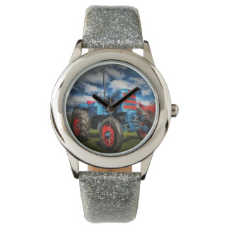 Cool Blue Red Antique Tractor Gifts for Farmers Wristwatch