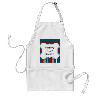 Cool Blue Red Tan White Striped Pattern Nautical Adult Apron