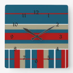Cool Blue Red Tan White Striped Pattern Nautical Wall Clock