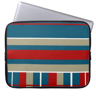 Cool Blue Red Tan White Striped Pattern Nautical Computer Sleeve