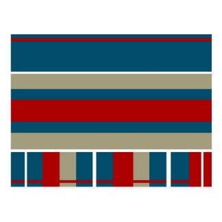 Cool Blue Red Tan White Striped Pattern Nautical Postcard