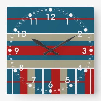 Cool Blue Red Tan White Striped Pattern Nautical Square Wall Clock