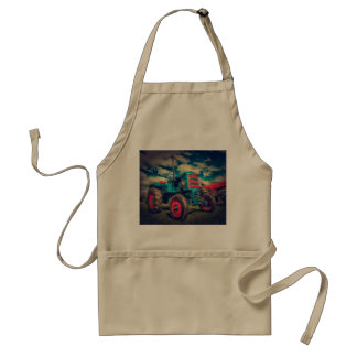 Cool Blue Red Vintage Tractor Adult Apron