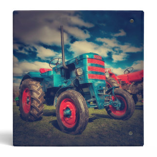 Cool Blue Red Vintage Tractor Binder