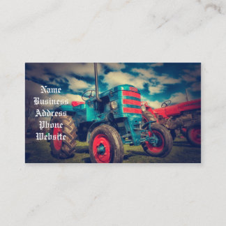 Cool Blue Red Vintage Tractor Business Card