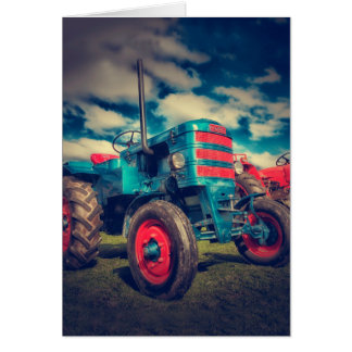 Cool Blue Red Vintage Tractor Card