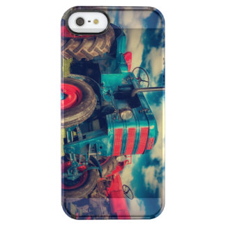 Cool Blue Red Vintage Tractor Clear iPhone SE/5/5s Case