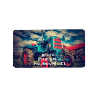 Cool Blue Red Vintage Tractor Label
