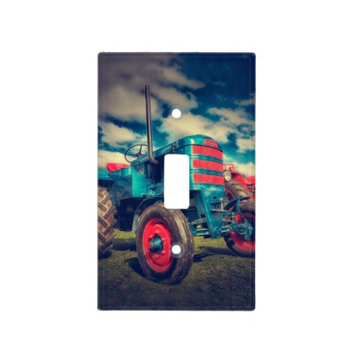 Red Tractor Plate Outlit : Cool blue red vintage tractor light switch cover zazzle