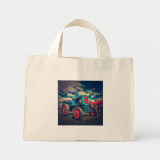 Cool Blue Red Vintage Tractor Mini Tote Bag