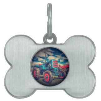Cool Blue Red Vintage Tractor Pet Name Tag