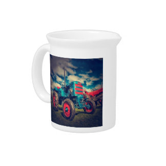 Cool Blue Red Vintage Tractor Beverage Pitchers