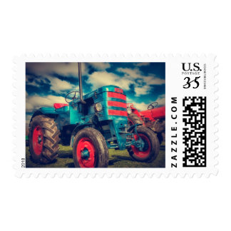 Cool Blue Red Vintage Tractor Postage