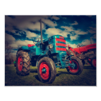 Cool Blue Red Vintage Tractor Poster