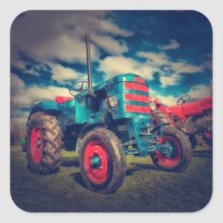 Cool Blue Red Vintage Tractor Square Sticker