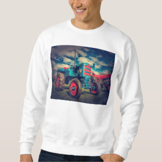 Cool Blue Red Vintage Tractor Sweatshirt