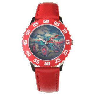 Cool Blue Red Vintage Tractor Wrist Watch