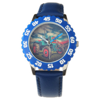Cool Blue Red Vintage Tractor Wrist Watches