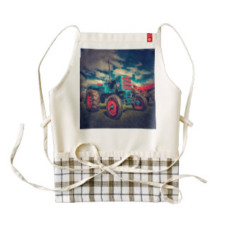 Cool Blue Red Vintage Tractor Zazzle HEART Apron