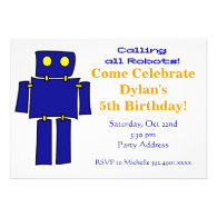 Cool Blue Robot Birthday Party Invitations