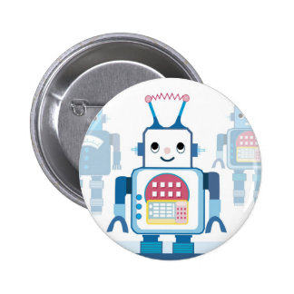 Cool Blue Robot Gifts Novelties Button