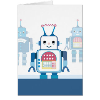 Cool Blue Robot Gifts Novelties Card