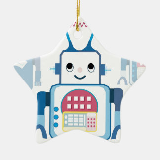 Cool Blue Robot Gifts Novelties Double-Sided Star Ceramic Christmas Ornament