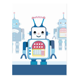 Cool Blue Robot Gifts Novelties Postcard