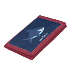 Cool Blue Smiling Shark Trifold Wallet at Zazzle