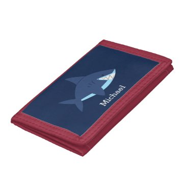 heartlocked Cool Blue Smiling Shark Trifold Wallet
