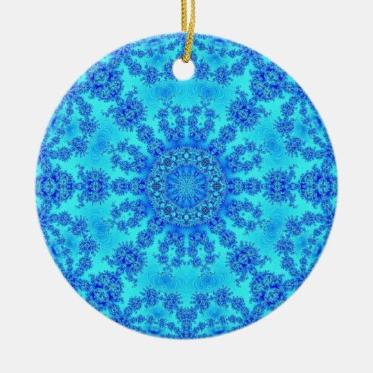 Cool Blue Snowflake Ceramic Ornament