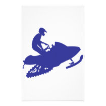 Cool Blue Snowmobiler Stationery