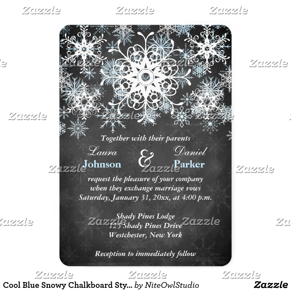 Cool Blue Snowy Chalkboard Style Wedding Invite