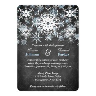 Cool Blue Snowy Chalkboard Style Wedding Invite