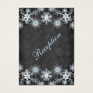 Cool Blue Snowy Chalkboard Wedding Enclosure Card