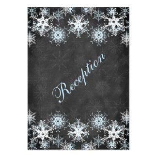 Cool Blue Snowy Chalkboard Wedding Enclosure Card Large Business Card