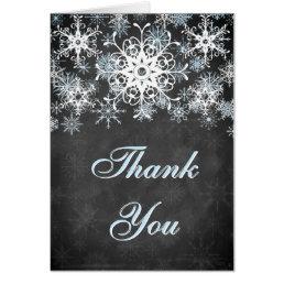 Cool Blue Snowy Chalkboard Wedding Thank You Card