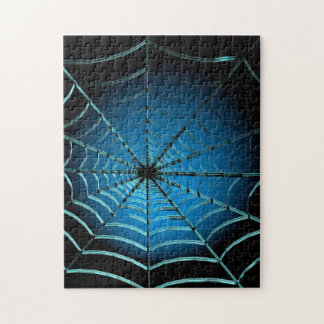 Cool Blue Spider Web Jigsaw Puzzle