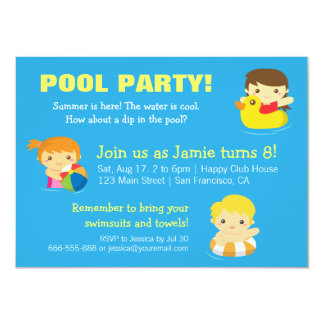 Cool Blue Summer, Birthday Pool Party Invitations