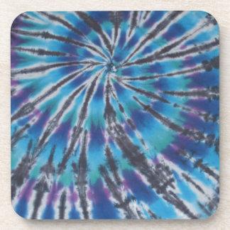Cool Blue Swirl Spiral Tie Dye Coaster