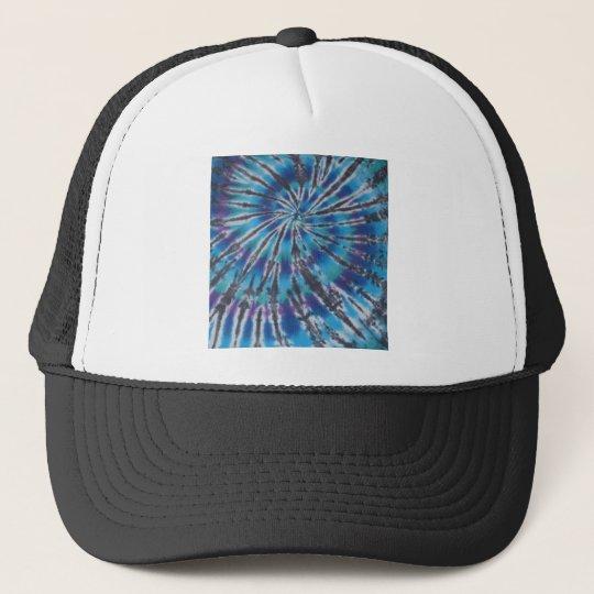 Cool Blue Swirl Spiral Tie Dye Trucker Hat