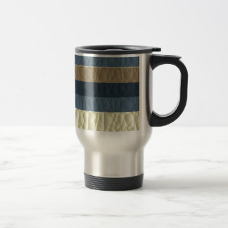 Cool Blue Taupe Color Pallet Quilted Travel Mug