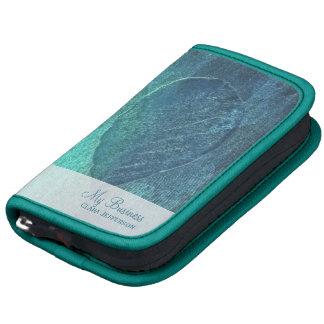Cool blue teal turquoise abstract leaf folio planners