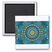 Cool Blue Tie Dye Mandala Magnet
