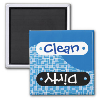 Cool Blue Tile Clean Dirty Dishwasher Magnets