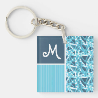 Cool Blue Triangle Pattern Double-Sided Square Acrylic Keychain