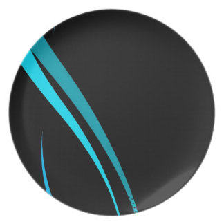 Cool Blue Tribal Curves Layout Dinner Plate
