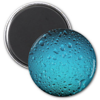 Cool Blue water drops 2 Inch Round Magnet