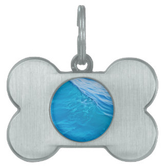 Cool blue water wave pet ID tags